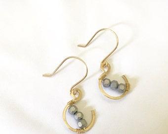 Boho, hippe, rustic, gold fill hook earring with gun metal hematite beads