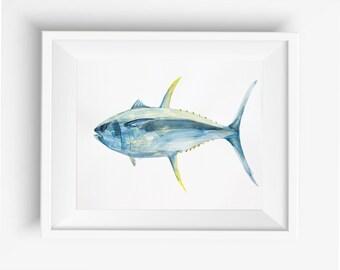 Yellow Fin Ocean Tuna Fish Hand Drawn with Watercolors,digital prints, beach home decor