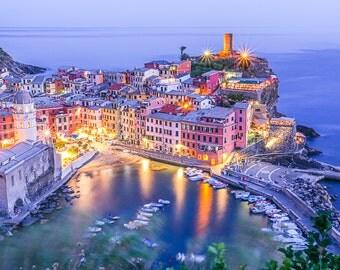 Vernazza Dusk, Vernazza, Italy Art Print, Italian Photography, Italian Decor, Large Wall Art, Travel Photo, Travel Photography, cinque terre