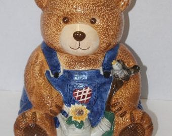 Vintage Ceramic Teddy Bear Cookie Jar - Denim Overalls - Sunflower - Bird - Watering Can