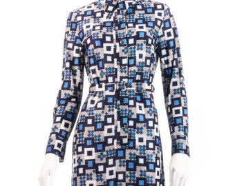 Sidgreene vintage blue geometric print dress size 14