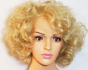Synthetic Lace Front Customised 1950's Inspired Vintage Blonde  Curly Wig