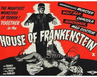 Vintage House of Frankenstein Movie Poster Print