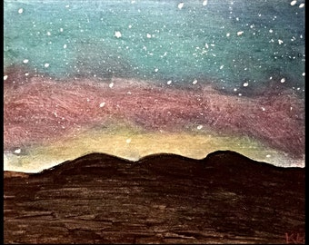 Night Sky, Skyline, Mountain, Silhouette, Glittering,Sunset, Acrylic