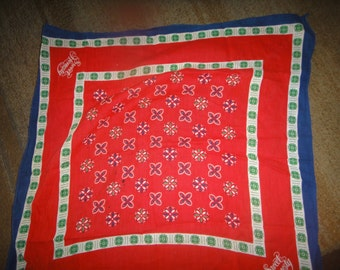 Vintage Avon Sweet Honesty Bandana Handkerchief Scarf Red Blue Green