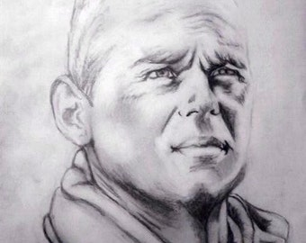 Firefighter black and white pencil portrait drawing