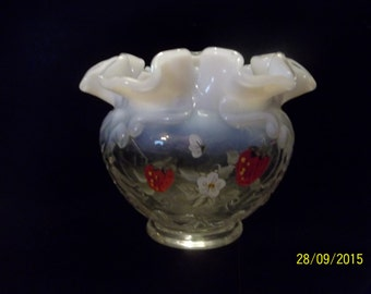 "Fenton ""Strawberries on French Opalescence"" Medallion Ruffled Bowl"