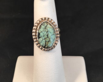 Native American Navajo Silver Turquoise and Sterling Silver Ring Size 5