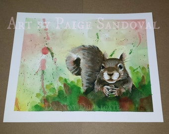 Fall Autumn Squirrel watercolor art print by Paige Sandoval Only 10 available