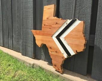 Shiplap & Chevron Texas | Salvaged Reclaimed Wood Wall Hanging | Wood Art State Shape Cutout Sign | Wedding Decor