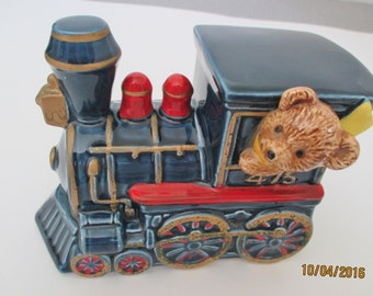 Otagiri Ceramic Train Engine, Otagiri Bear Train, Otagiri Nursery Decor, Ceramic Blue Train, Ceramic Teddy Bear Train