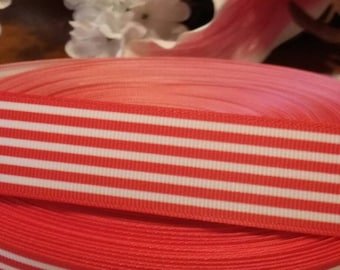 3 yards 1' red and white stripes grosgrain ribbon