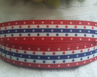 "3 yards, 7/8"" red white and blue stripes with red white and blue stars, 4th of July grosgrain ribbon"