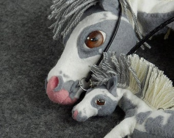 Piebald horse, puppet, toy, white horse, smoky horse