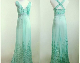S/M 1970s Sheer Teal Maxi Nightgown with Lace Ribbon Detailing