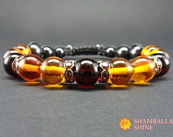 Honey amber jewelry Amber women bracelet Healing power bracelet Happiness gemstone Dark amber beads bracelet Amber gemstone Valentines day