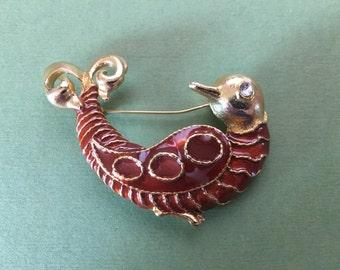 Vintage Gold Tone and Burnt Orange Bird Brooch Pin with a Rhinestone Eye