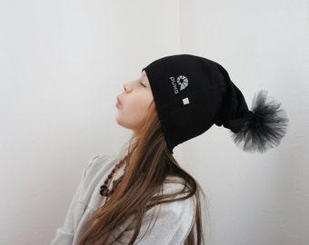 Puka black beanie hat with Pom Pom | Puka pom poms removable