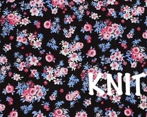 Pink Periwinkle Small Floral Garden Knit Fabric