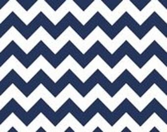Medium Chevron Navy Blue cotton fabric by Riley Blake Designs