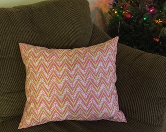 Pink and Green Zig Zag Decorative Pillow