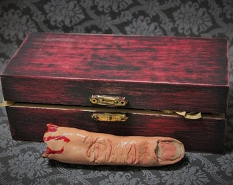 Severed Finger Ornament-Bloody finger in box-Handmade Clay Finger-Halloween Ornament-Dark Christmas ornament-Body part ornaments