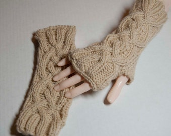 Cable pattern Fingerless gloves with long cuffs