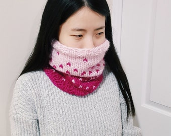 Strawberry Smoothie Neckwarmer - Wool Knit Cowl - Pink and berry colour cowl - winter cowl