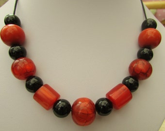 Chunky orange and black beaded necklace