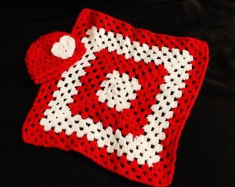 Valentine's Day newborn hat and lovey set