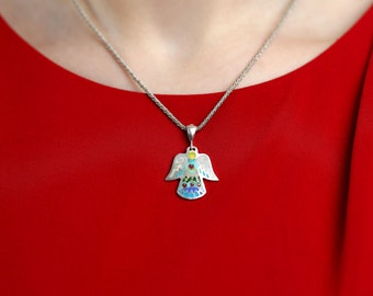 Love Angels, A wonderful set Earrings and Pendant with Cloisonné  Enamel in Silver
