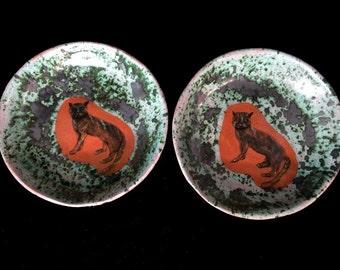 Decorative ceramic dishes, hand painted ceramic, cats, serving bowls, decorative bowls, home decor, rustic chic, cat art, ceramic art