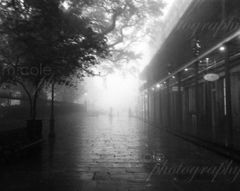 New Orleans on a foggy and gloomy day, Black and White, Color
