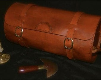 Round Leather bag, motorcycle round bag, tool bag, Leather bag, Motorcycle Bag