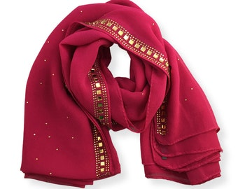 Glam-o-Rose - Chiffon Rhinestone Sparkle Hijab