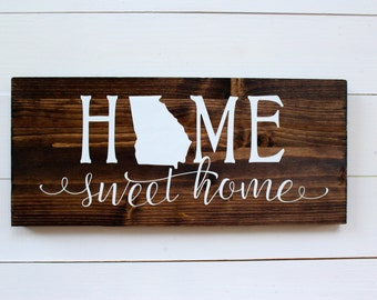Home Sweet Home Alabama Wooden Rustic Entryway Sign