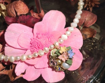 Nature Pearl kgold Stone crystal necklace flowers