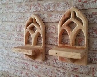 Handmade wooden Gothic tea light holders