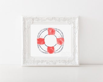 Nautical Lifesaver Watercolor Print