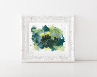 Yellow Cactus Flower Watercolor Print