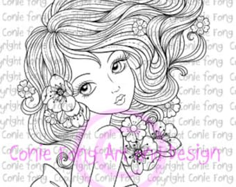 Digital Stamp, Digi Stamp, Leilani by Conie Fong, Coloring Page, girl, flower, scrapbooking