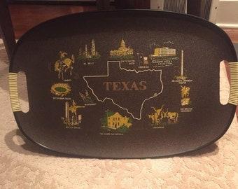 Texas Souvenir Tray - brown melamine
