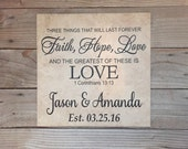 Monogrammed Gifts, Faith Hope Love, Wedding Gifts, Personalized Gifts, Established sign, Name, Gifts for Couple, Wedding, 1 corinthians 13,