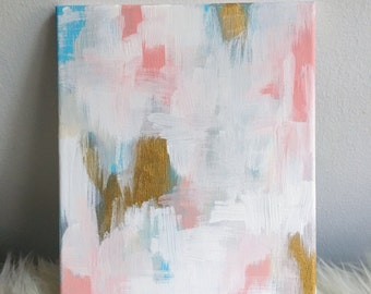 Summer Carnival - Pink, Gold, Blue & White Abstract Painting
