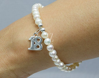 Freshwater Pearl Bracelet/Anklet 18th Birthday Sterling Silver Charm and Sterling Silver beads for that  Special Occasion. 18th Anniversary