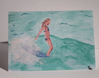 Surf girl hang ten A6 greeting card.