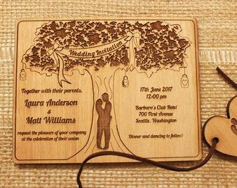 Rustic Wedding Tree Invitation (20 pcs), Wood Wedding Invitation, Unique Wedding Invitation, Wedding Invitation, Wood Invitation, Unique