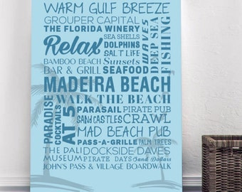 Madeira Beach Florida Themed Canvas