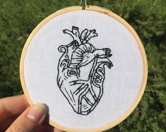Anatomical Heart Embroidery Hoop Art - 10cm Hand Embroidered Heart - Anatomy Decor - Medical Decor