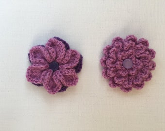 Crochet flowers, crochet appliqués, flower appliqués, embellishments, set of two